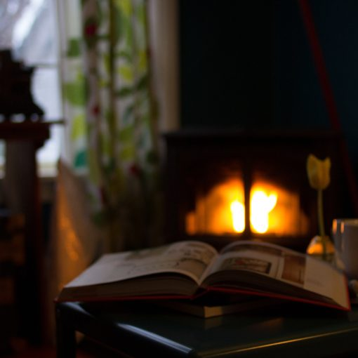 depiction of warm home with small fire next to book